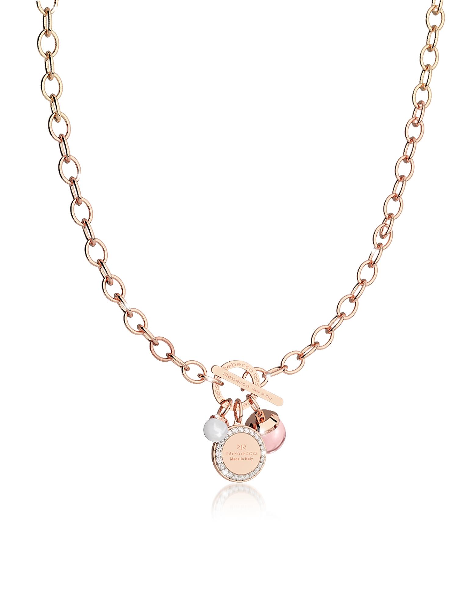 Hollywood Stone - Ожерелье из Бронзы с Напылением Розового Золота, Розовым Гидротермальным Камнем и Стеклянной Жемчужиной