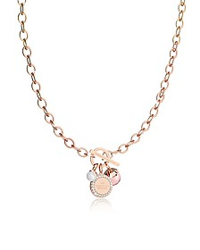 Hollywood Stone Rose Gold Over Bronze Chain Necklace w/Hydrothermal Pink Stone and Glass Pearl - Rebecca