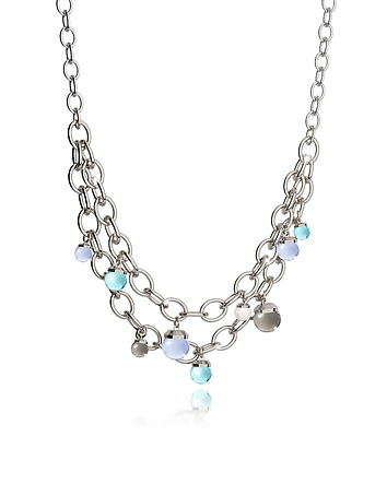Rebecca - Hollywood Stone Rhodium Over Bronze Chains Necklace w/Hydrothermal Stones