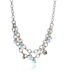 Hollywood Stone Rhodium Over Bronze Chains Necklace w/Hidrothermal Stones - Rebecca