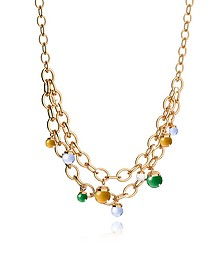 Hollywood Stone Yellow Gold Over Bronze Chains Necklace w/Hidrothermal Stones - Rebecca