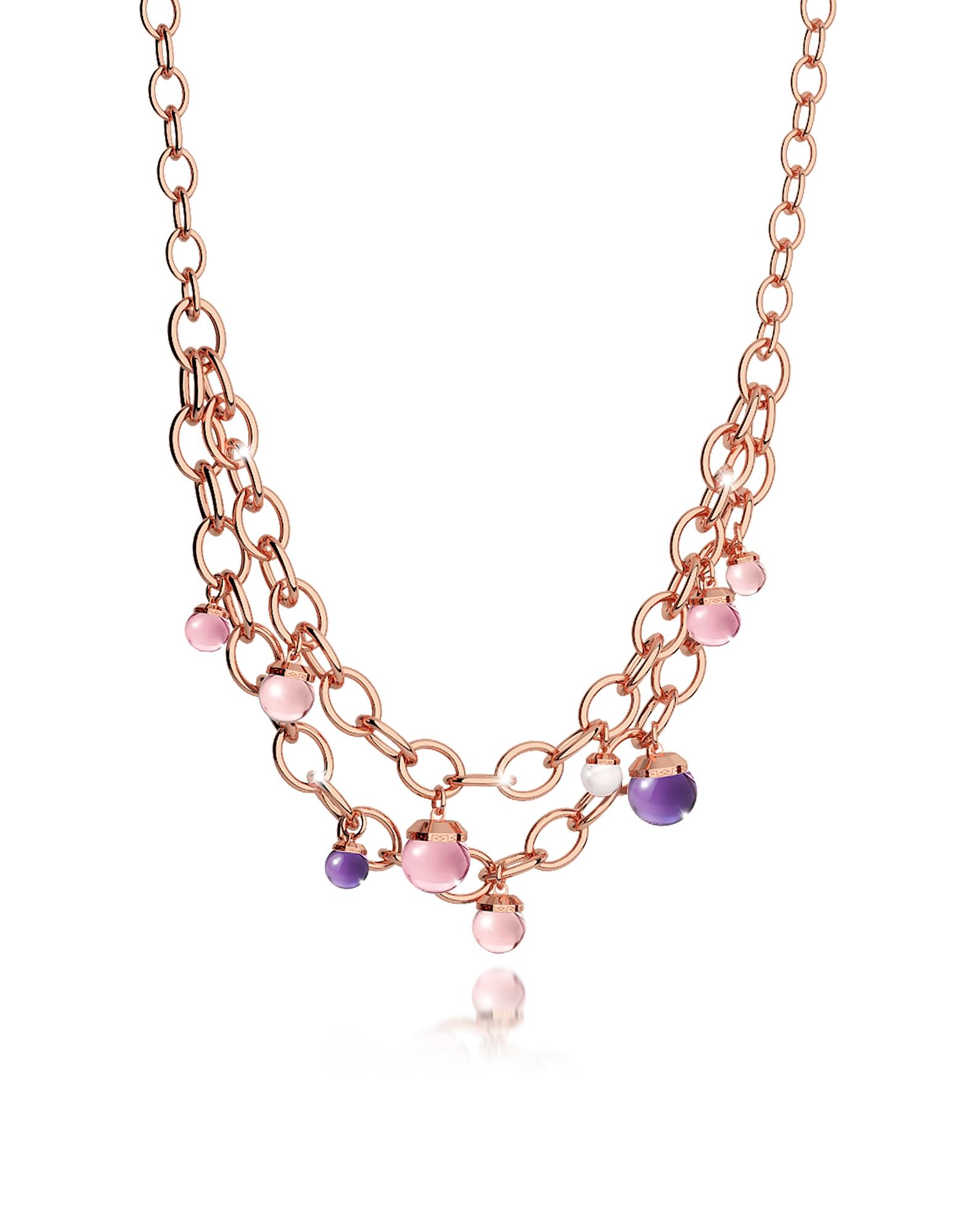 Hollywood Stone - Ожерелье из Бронзы с Напылением Розового Золота и Гидротермальными Камнями