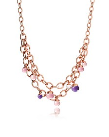 Hollywood Stone Rose Gold Over Bronze Chains Necklace w/Hidrothermal Stones - Rebecca