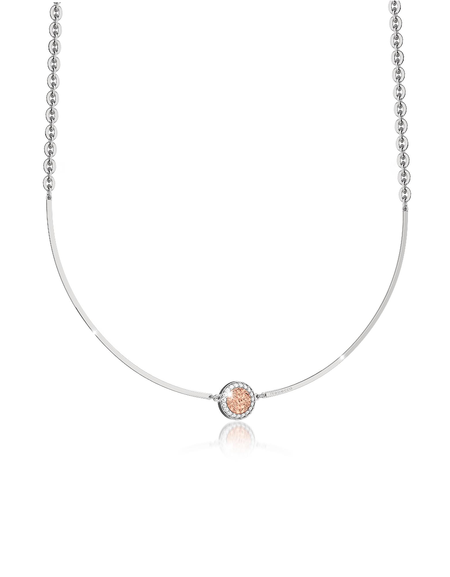 R-Zero - Ожерелье из Бронзы с Родиевым Покрытием и Камнями