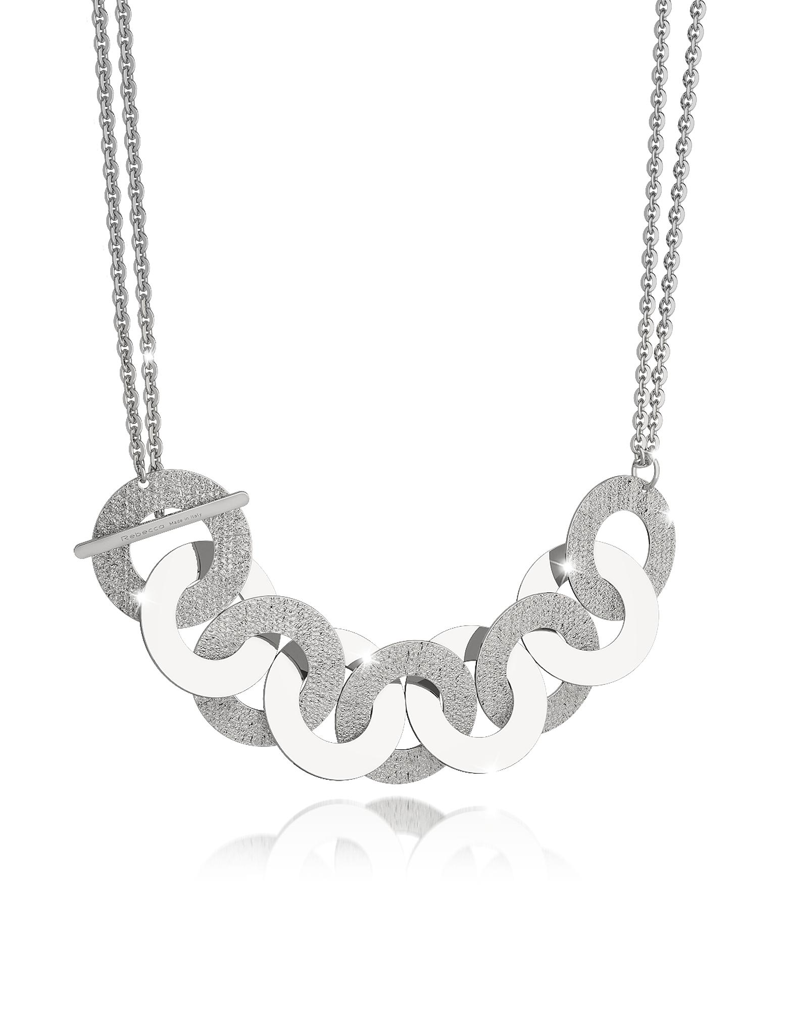 R-Zero - Ожерелье из Бронзы с Родиевым Покрытием и Цепочкой Макси из Стали