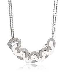 R-Zero Rhodium Over Bronze and Steel Maxi Chain Necklace - Rebecca