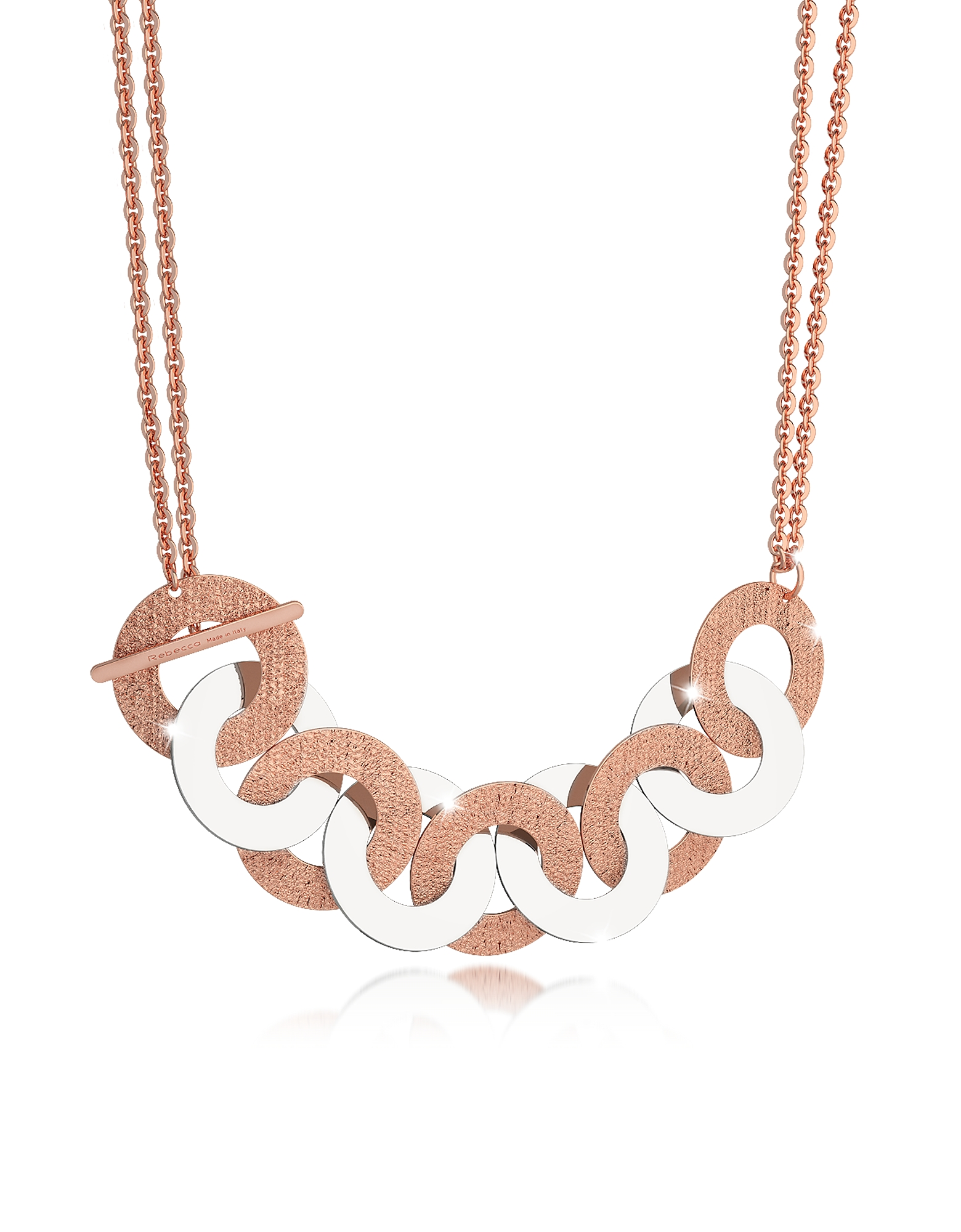 Rebecca Necklaces, R-Zero Rose Gold Over Bronze and Steel Maxi Chain Necklace