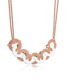 R-Zero Rose Gold Over Bronze and Steel Maxi Chain Necklace - Rebecca
