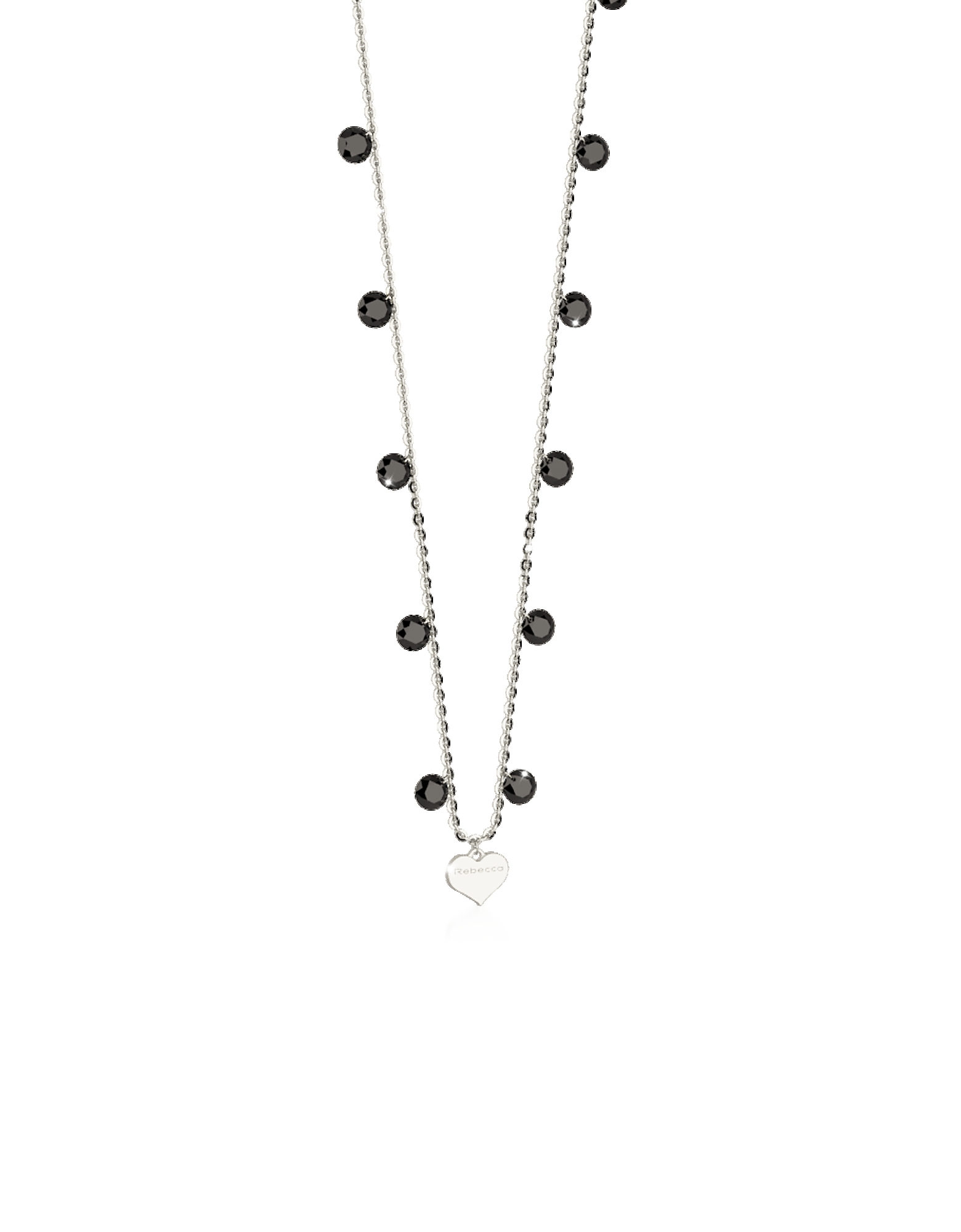 Rebecca Necklaces, Lucciole Sterling Silver Necklace w/Black Crystals