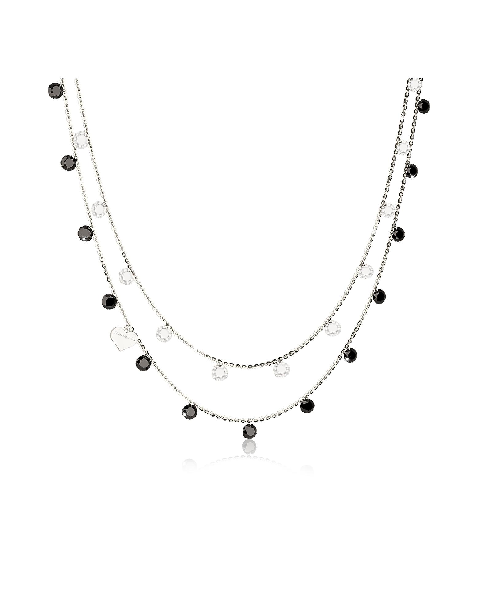 Lucciole Sterling Silver Necklace w/Black Crystals