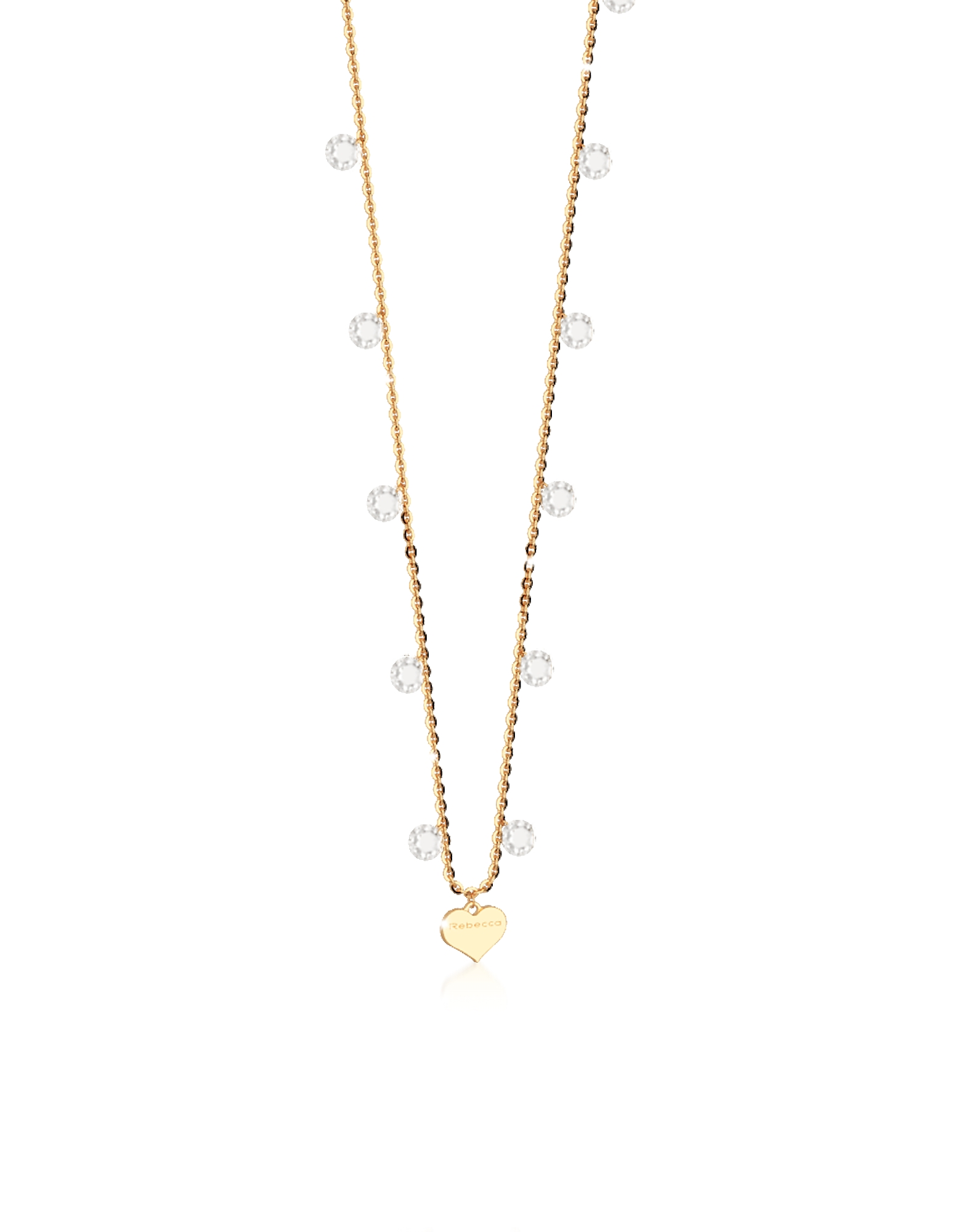 Rebecca Necklaces, Lucciole Sterling Silver Gold Plated Necklace w/Crystals