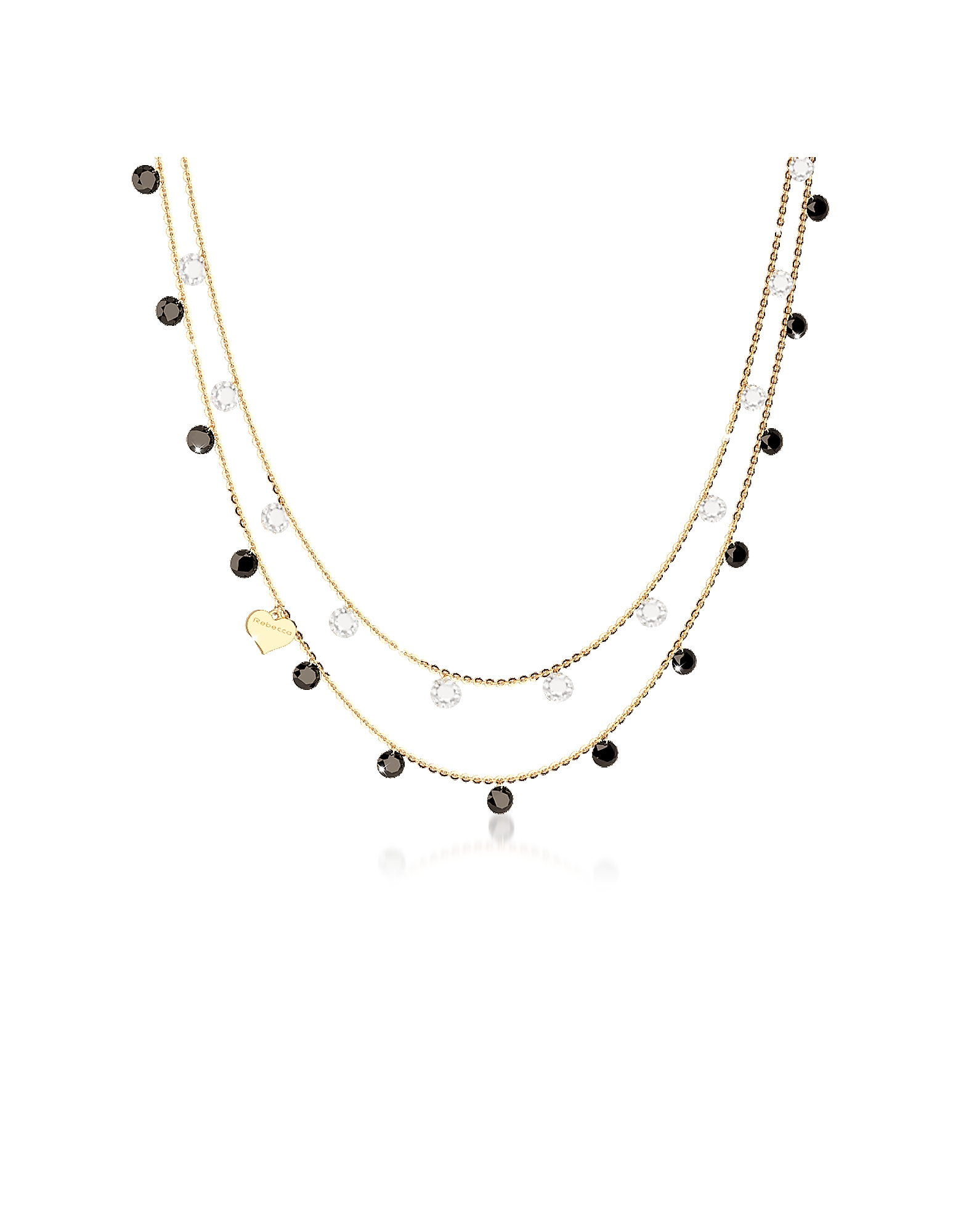 Lucciole Sterling Silver Gold Plated Necklace w/Crystals