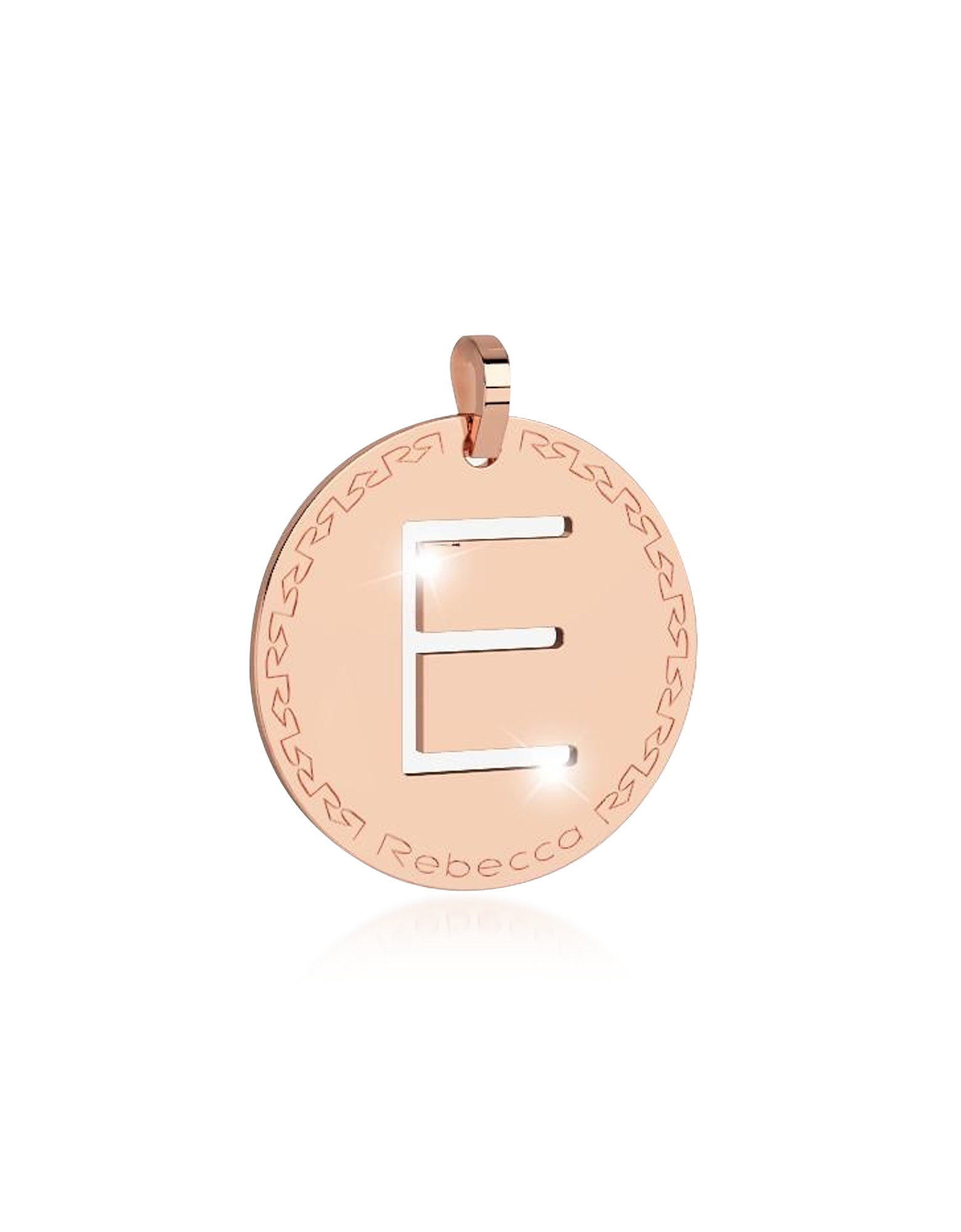 Rebecca Designer Necklaces, Rose Gold-plated Bronze E Charm W/Rhodium-plated Necklace