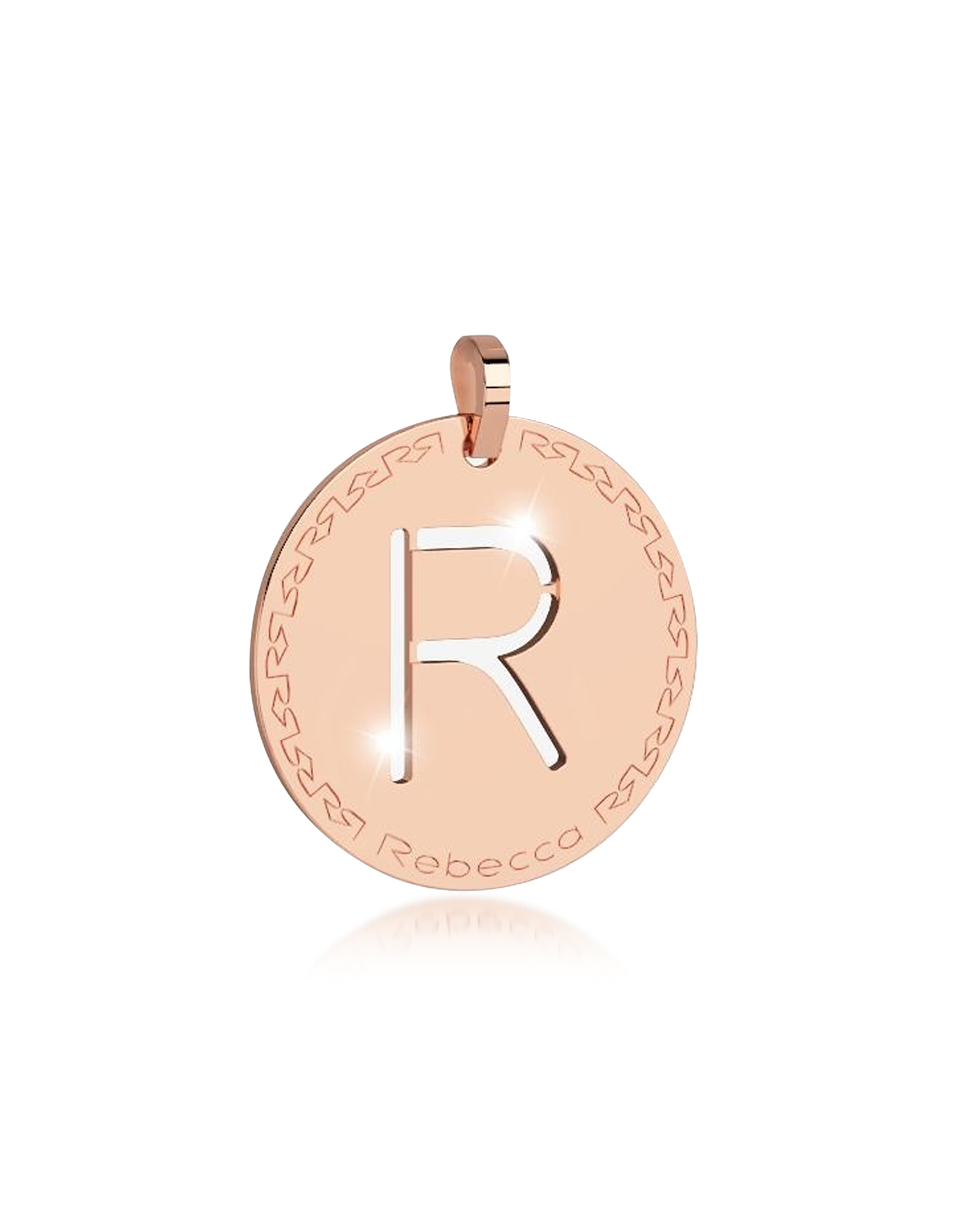 Rebecca Designer Necklaces, Rose Gold-plated Bronze R Charm W/Rhodium-plated Necklace