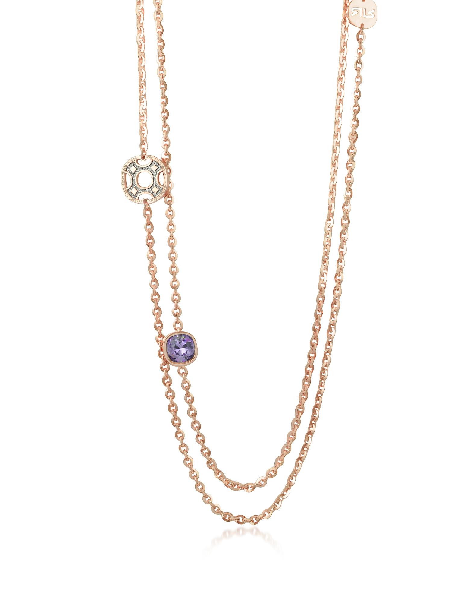 Seventies - Длинное Ожерелье из Розового Золота 18 карат на Бронзе