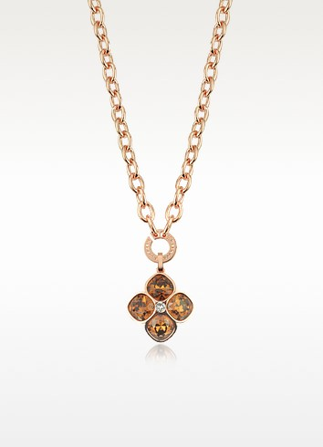 Candy - 18 KT Rose Gold Over Bronze Necklace W/ Flower Charm - Rebecca