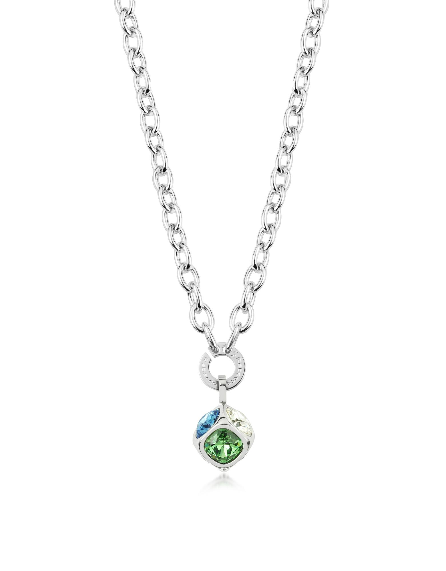 Candy -  Ожерелье из Бронзы с Напылением Родия и Чармом Кубом