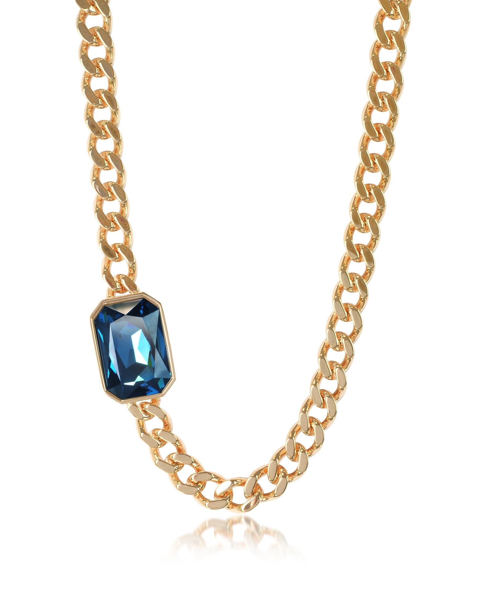 Elizabeth - Ожерелье из Бронзы с Напылением Желтого Золота и Восьмиугольным Камнем