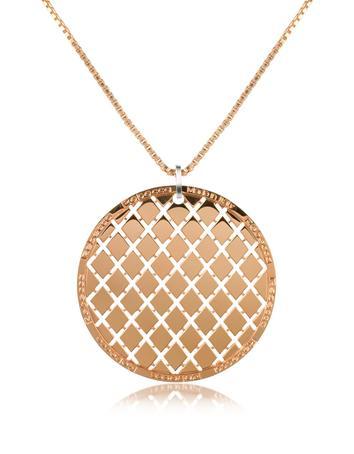 Rebecca Melrose - Rose Gold Gilded Round Large Pendant Necklace