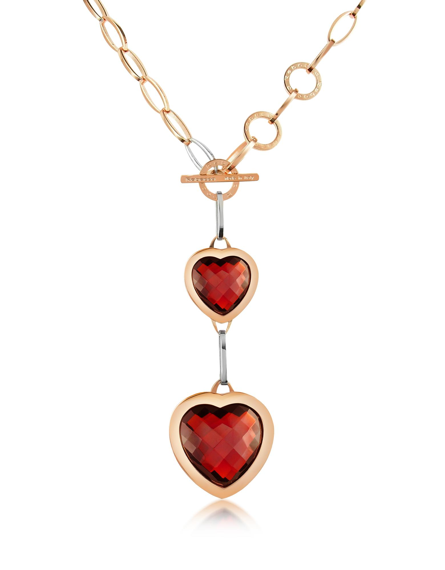 Rebecca Tropezienne - Rose Gold Plated Red Hearts Necklace