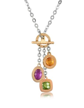 Rebecca Liberty - Multicolor Stones Stainless Steel Charm Necklace