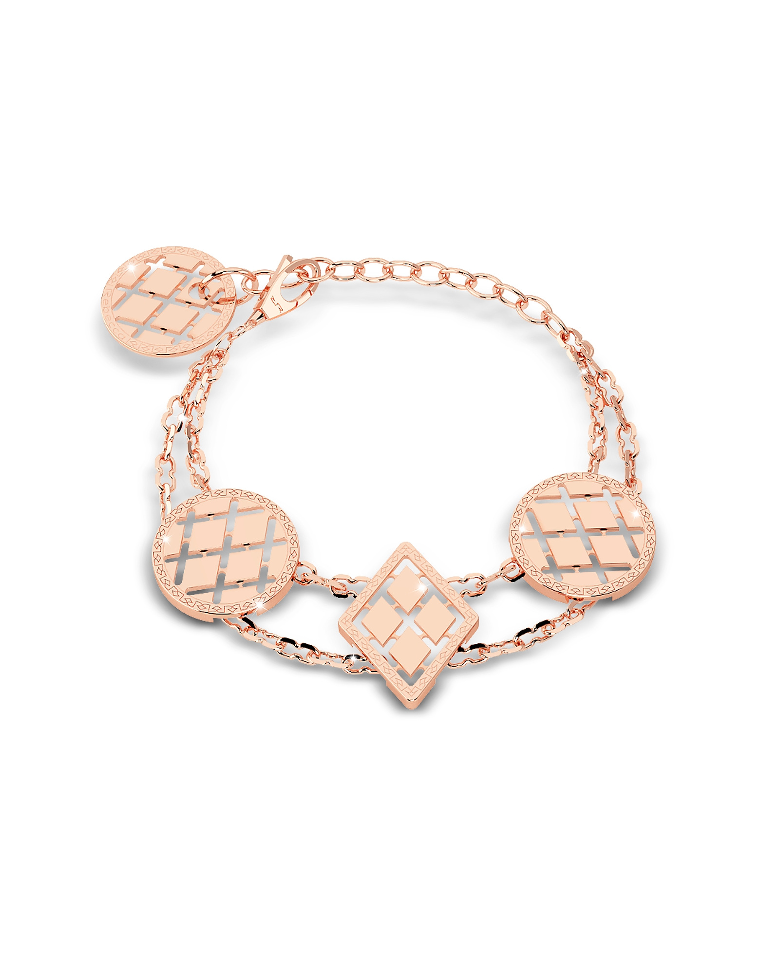 Rebecca Bracelets, Melrose Rose Gold Over Bronze Bracelet w/Geometric Charms