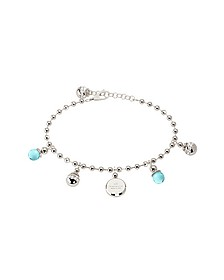 Boulevard Stone Rhodium Over Bronze Bracelet w/Hydrothermal Turquoise Stones - Rebecca