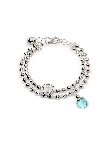 Rebecca - Boulevard Stone Rhodium Over Bronze Double Beadball Chain Bracelet w/Hydrothermal Turquois