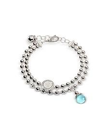 Boulevard Stone Rhodium Over Bronze Double Beadball Chain Bracelet w/Hydrothermal Turquoise Stone - Rebecca