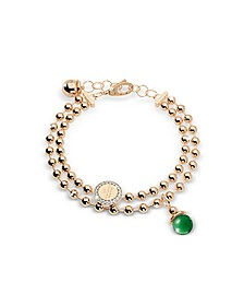 Boulevard Stone Yellow Gold Over Bronze Double Beadball Chain Bracelet w/Hydrothermal Green Stone - Rebecca