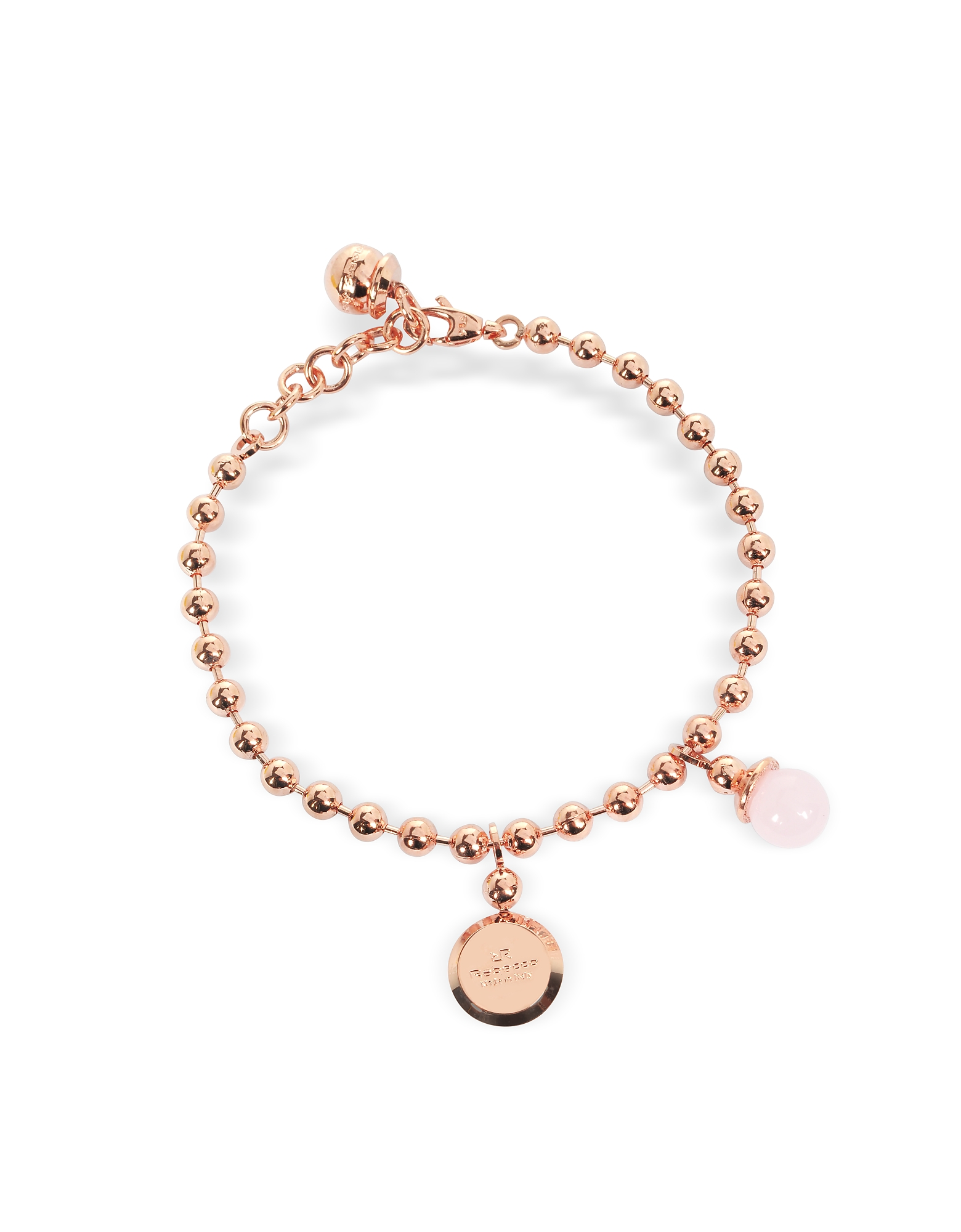 Boulevard Stone Rose Gold Over Bronze Bracelet w/Hydrothermal Pink Stone