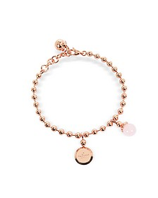 Boulevard Stone Rose Gold Over Bronze Bracelet w/Hydrothermal Pink Stone - Rebecca