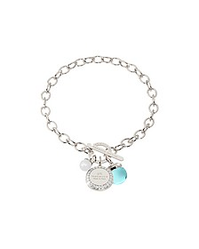 Hollywood Stone Rhodium Over Bronze Chain Bracelet w/Hydrothermal Turquoise Stone and Glass Pearl - Rebecca