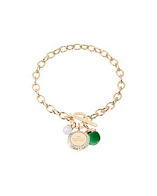 Hollywood Stone Yellow Gold Over Bronze Chain Bracelet w/Hydrothermal Green Stone and Glass Pearl - Rebecca