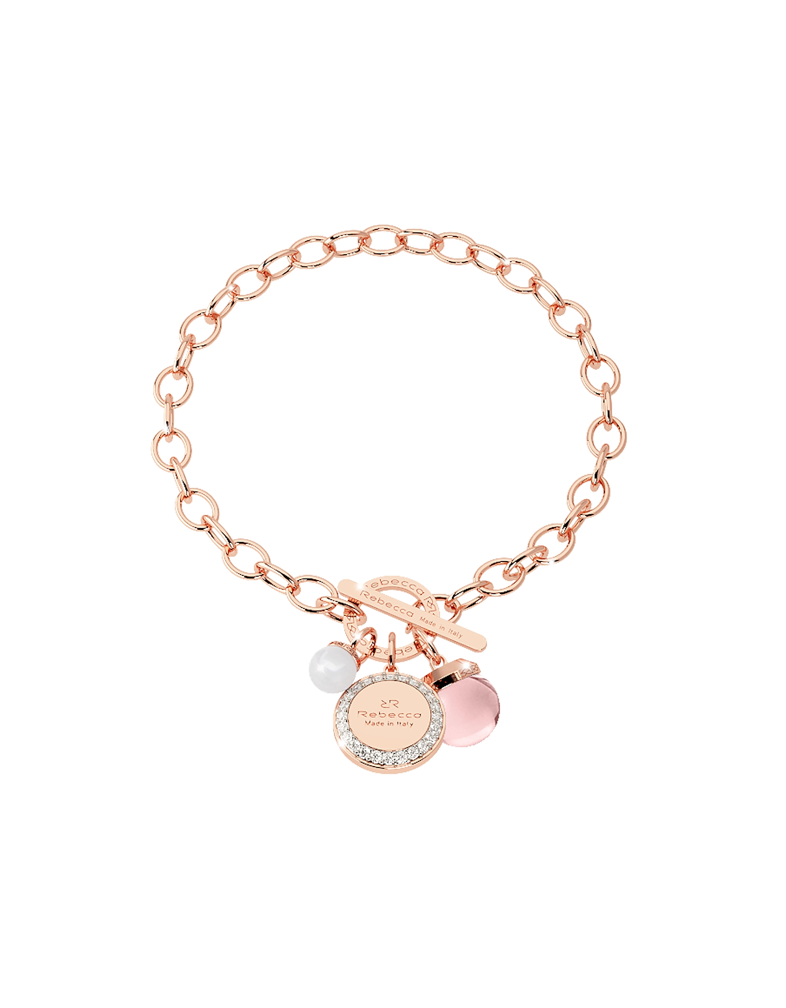 Rebecca Bracelets, Hollywood Stone Rose Gold Over Bronze Chain Bracelet w/Hydrothermal Pink Stone an