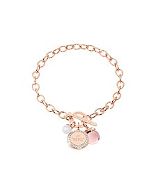 Hollywood Stone Rose Gold Over Bronze Chain Bracelet w/Hydrothermal Pink Stone and Glass Pearl - Rebecca