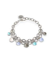 Hollywood Stone Rhodium Over Bronze Chains Bracelet w/Hydrothermal Stones - Rebecca