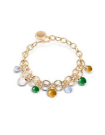 Rebecca - Hollywood Stone Yellow Gold Over Bronze Chains Bracelet w/Hydrothermal Stones