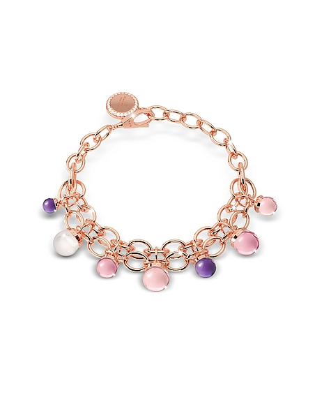 Rebecca Hollywood - Bracelet en Bronze Plaqué Or Rose avec Pierres Hydrothermales