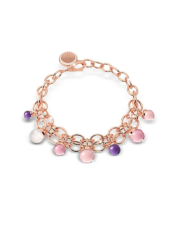 Rebecca - Hollywood Stone Rose Gold Over Bronze Chains Bracelet w/Hydrothermal Stones