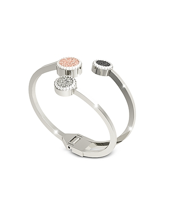 Rebecca - R-Zero Rhodium Over Bronze Cuff Bracelet w/Three Tones Stones