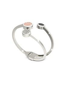 R-Zero Rhodium Over Bronze Cuff Bracelet w/Three Tones Stones - Rebecca