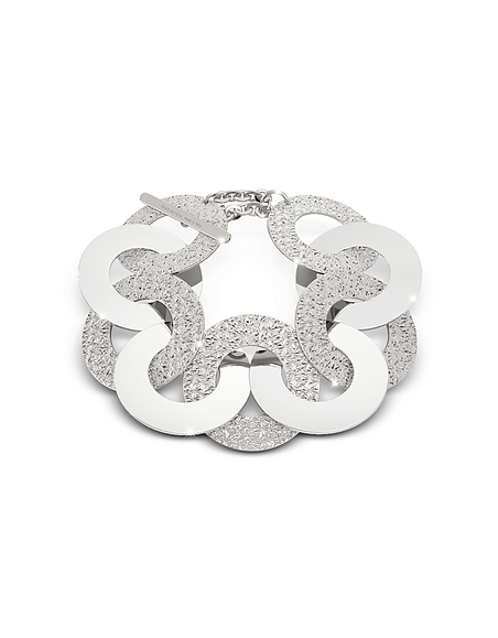 Rebecca R-Zero - Bracelet Maxi Chaîne en Rhodium sur Bronze et Acier Inoxydable Argent