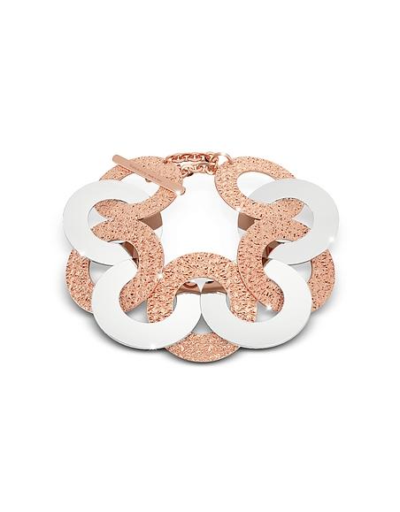 Rebecca R-Zero - Bracelet Maxi Chaîne en Bronze Or Rose et Acier Inoxydable Argent