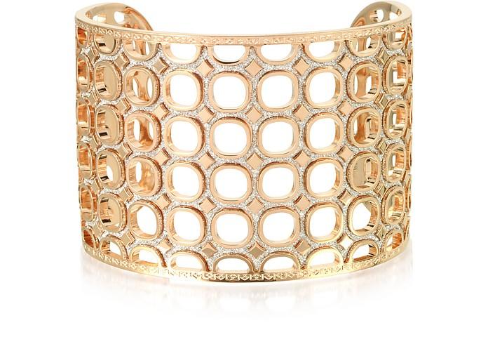 Seventies 18 KT Rose Gold Over Bronze Bracelet w/ Glitter - Rebecca