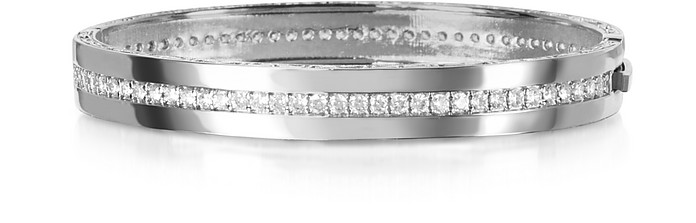 Half Moon - Bronze and Crystal Bangle Bracelet - Rebecca