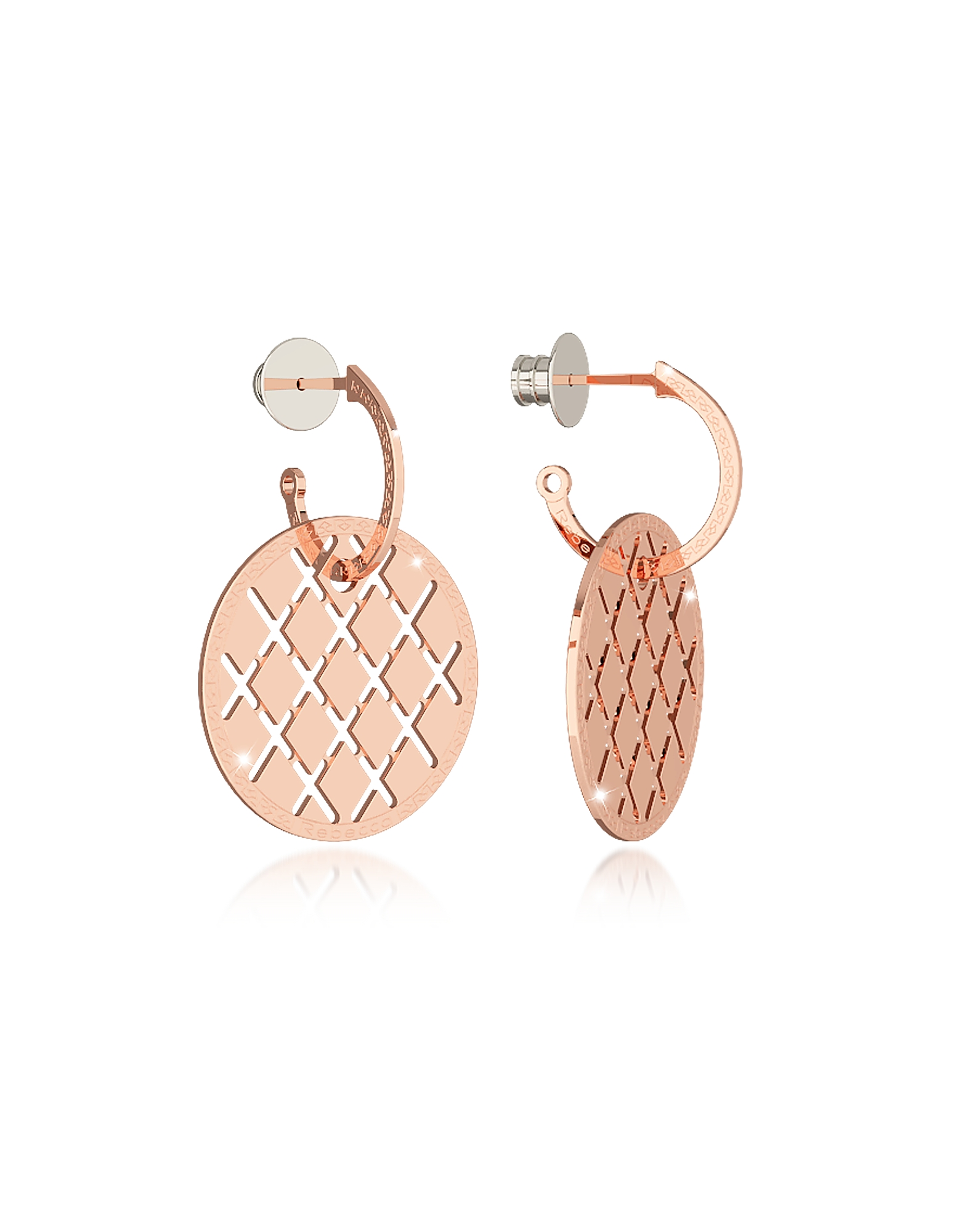 Melrose Rose Gold Over Bronze Drop Hoop Earrings, Pink