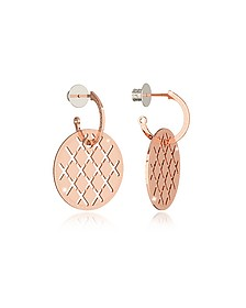 Melrose Rose Gold Over Bronze Drop Hoop Earrings - Rebecca