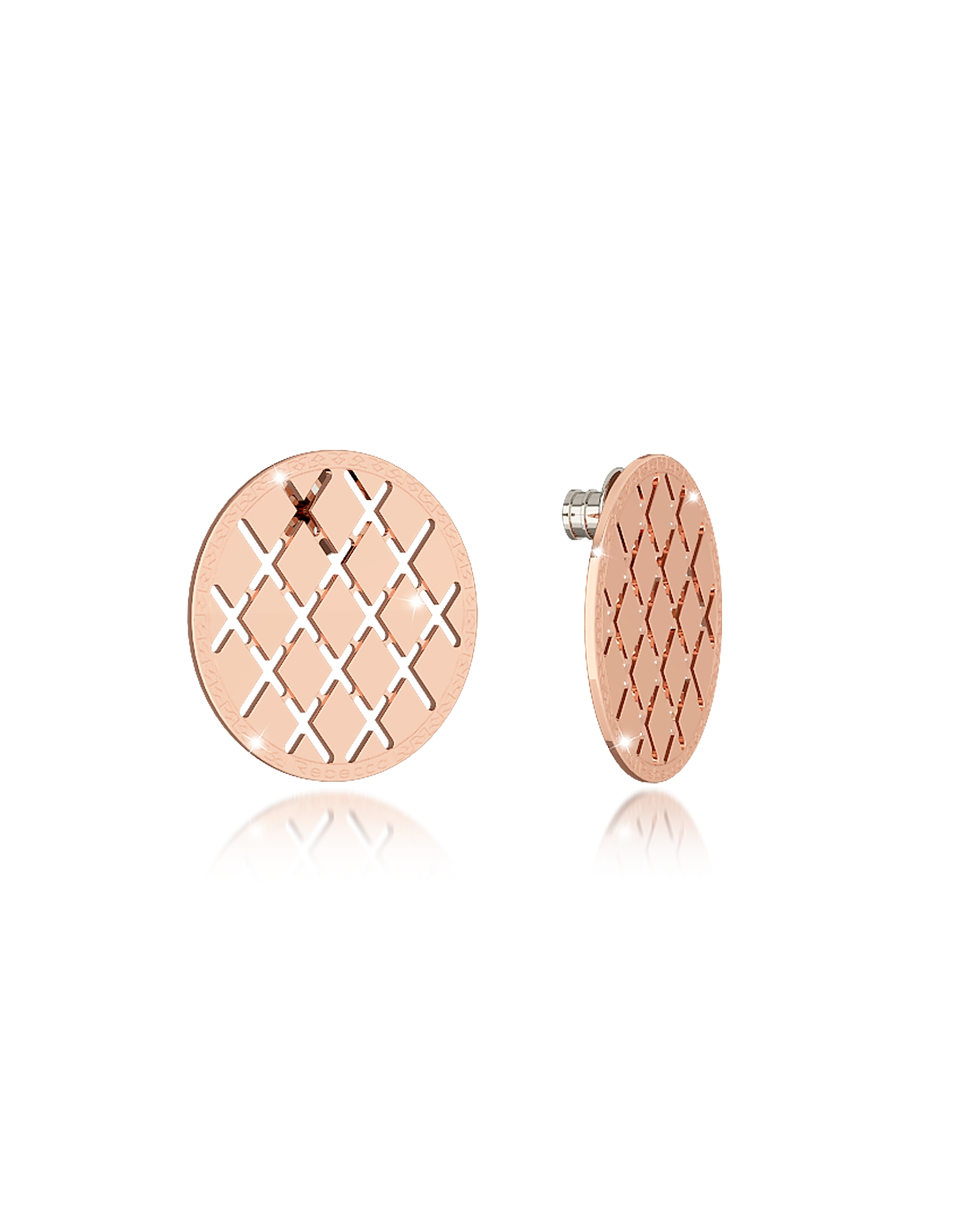 Rebecca Earrings, Melrose Rose Gold Over Bronze Stud Earring