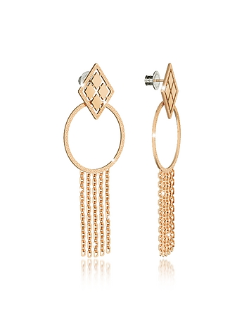 Rebecca - Melrose Yellow Gold Over Bronze Drop Hoop Earrings w/Chain Fringes